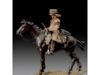 AMATI SOLDATINO FIGURINO 75MM TRAPPER A CAVALLO MINIATURA IN METALLO