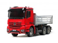 TAMIYA KIT 1/14 CAMION RC MERCEDES-BENZ AROCS 3348 TIPPER VERNICIATO ROSSO COLOR ARGENTO