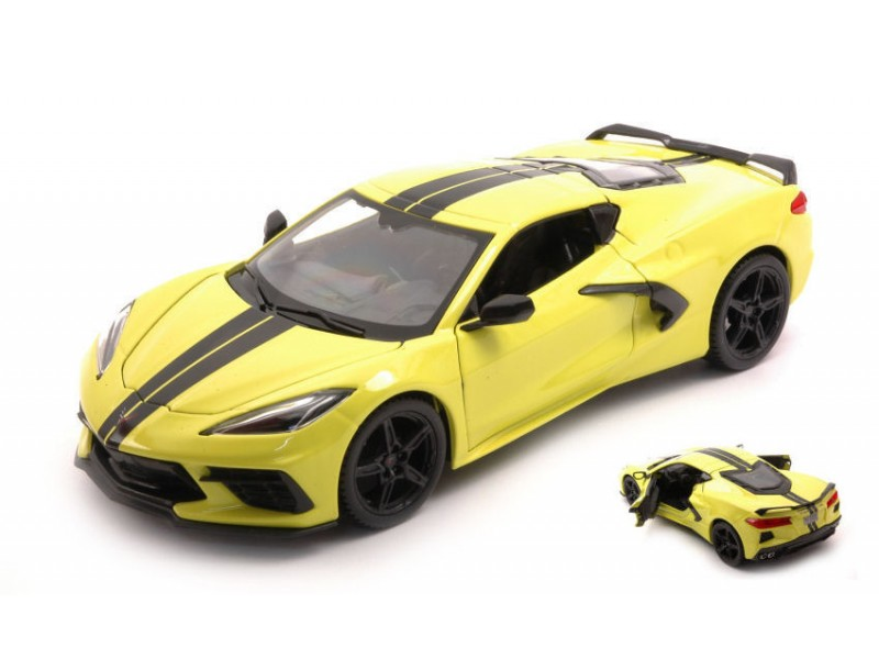 MAISTO 1/24 CHEVROLET CORVETTE C8 2020 LEMON YELLOW MODELLINO