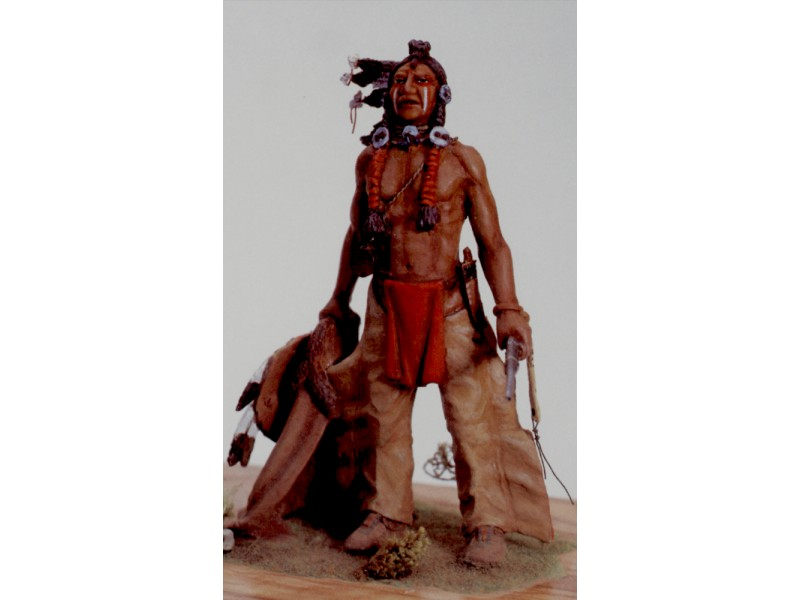 AMATI SOLDATINO FIGURINO 75MM GUERRIERO SIOUX MINIATURA IN METALLO
