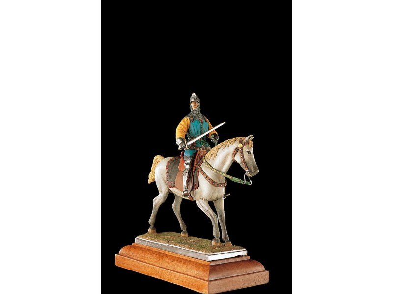 AMATI SOLDATINO FIGURINO 75MM MERCENARIO MEDIOEVALE A CAVALLO MINIATURA IN METALLO