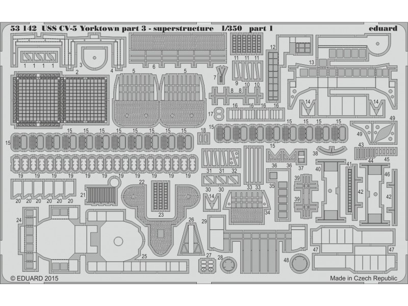 FOTOINCISIONI EDUARD PER USS CV-5 Yorktown part.3 superstructure (Merit)