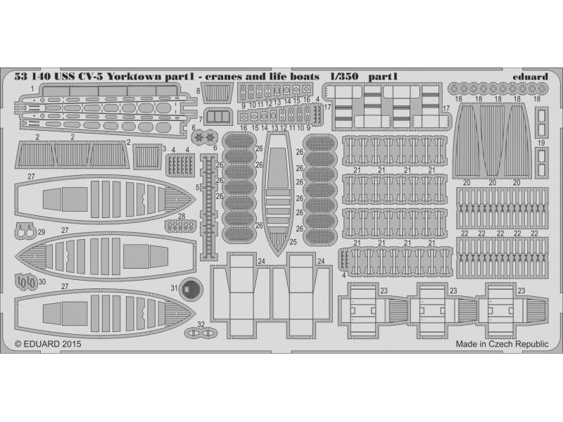 FOTOINCISIONI EDUARD PER USS CV-5 Yorktown p. 1 cranes & life boats (Merit)