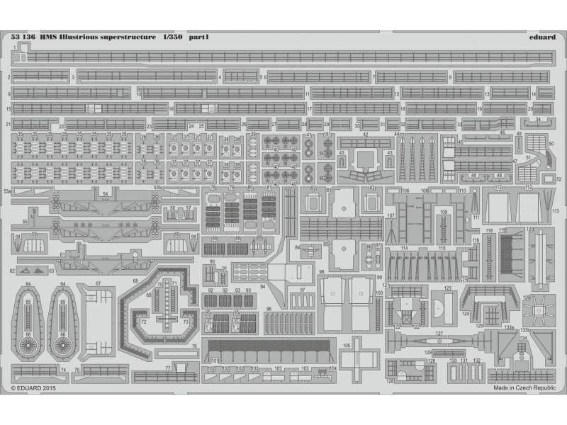 FOTOINCISIONI EDUARD PER HMS Illustrious superstructure 1:350 (Airfix)