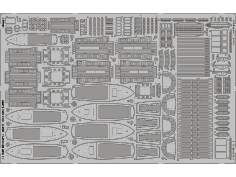 FOTOINCISIONI EDUARD PER Bismarck lifeboats 1:200 (Trumpeter)