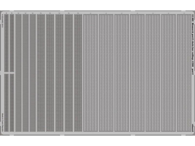 FOTOINCISIONI EDUARD PER Bismarck chain bar railings 1:200 (Trumpeter)