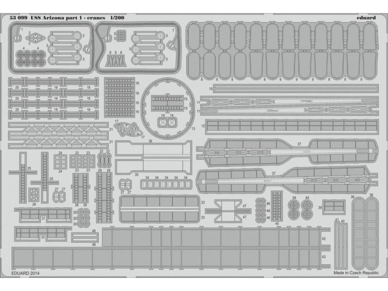 FOTOINCISIONI EDUARD PER USS Arizona part 1-cranes 1:200 (Trumpeter)