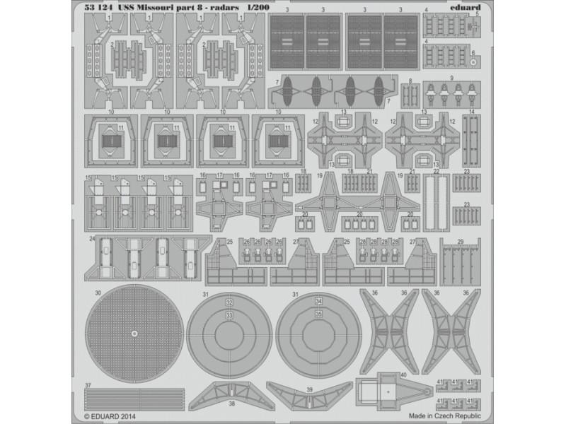 FOTOINCISIONI EDUARD PER USS Missouri part.8-radars 1:200 (Trumpeter)