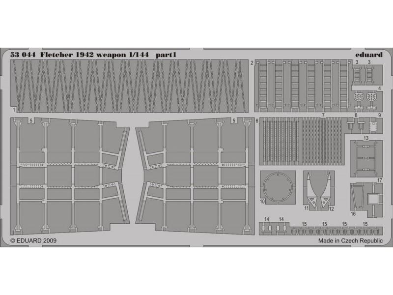 FOTOINCISIONI EDUARD PER Fletcher 1942 weapons (Revell) 1:144