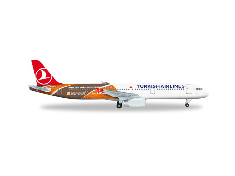 "MODELLISMO HERPA MODELLINO AEREO TC-JRO ""Uludag"" Turkish Airlines Airbus A321 ""Euroleague"""