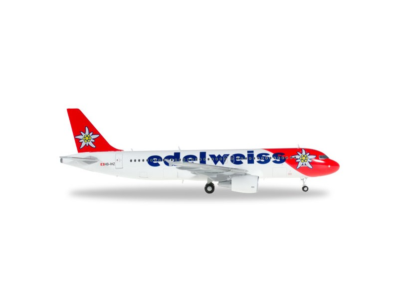 "MODELLISMO HERPA MODELLINO AEREO HB-IHZ ""Victoria"" Edelweiss Air Airbus A320"