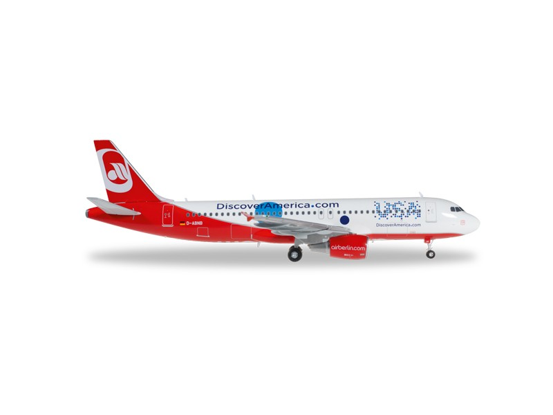 "MODELLISMO HERPA MODELLINO AEREO D-ABNB airberlin Airbus A320 ""Discover USA"""