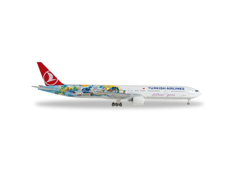 "MODELLISMO HERPA MODELLINO AEREO Turkish Airlines Boeing 777-300ER ""Istanbul-San Francisco"""