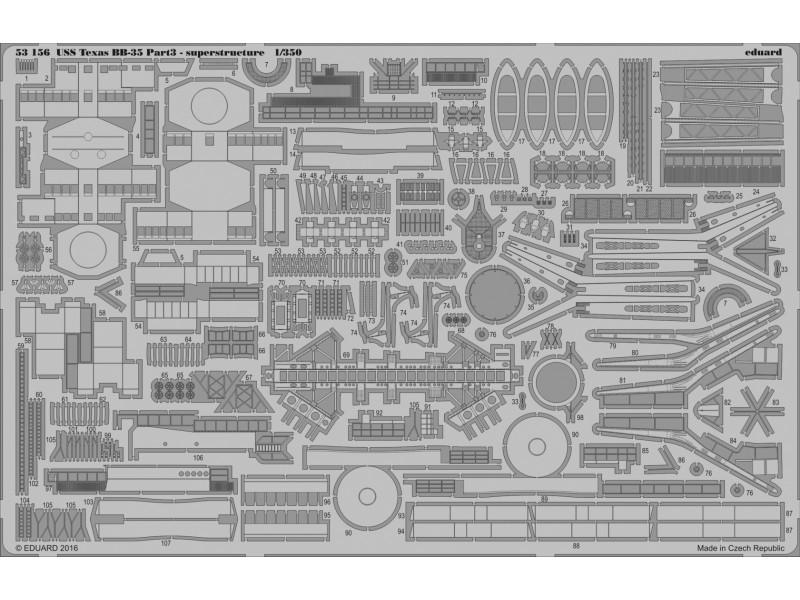 FOTOINCISIONI EDUARD 1/350 USS Texas BB-35 pt. 3 superstructure (Trumpeter)