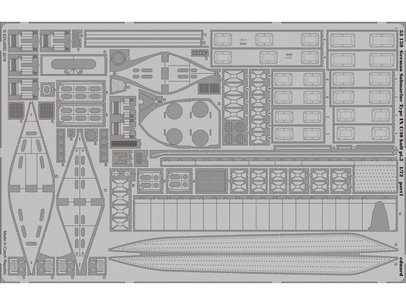 FOTOINCISIONI EDUARD 1/72 German Submarine Type IX C/40 hull pt.2 (Revell)