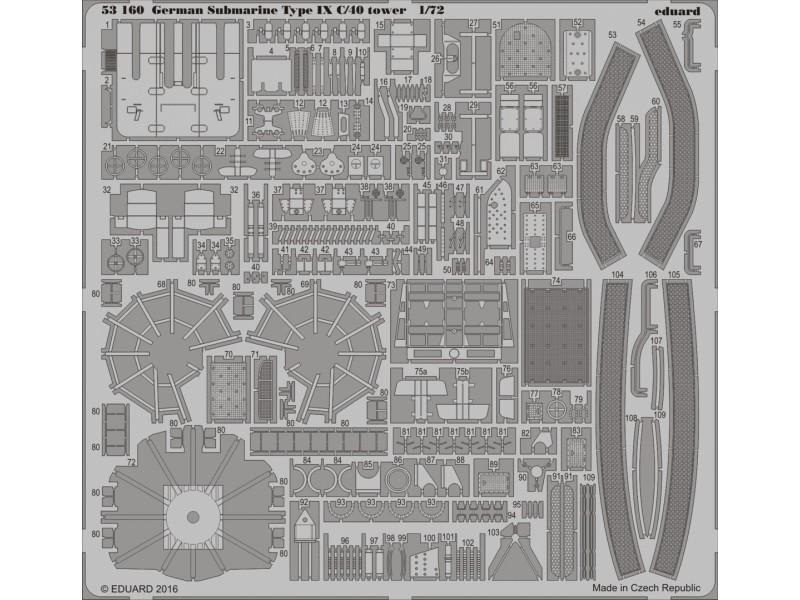FOTOINCISIONI EDUARD 1/72 German Submarine Type IX C/40 tower (Revell)