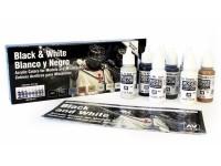 VALLEJO CONFEZIONE 8 COLORI ACRLICI PER MODELLISMO DA 17 ml BLACK & WHITE
