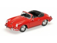 MODELLINO PORSCHE 356 B CABRIOLET 1960 RED IN METALLO MINICHAMPS
