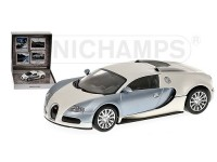 MODELLINO BUGATTI VEYRON 2009 POLAR METALLIC & PEARL TOP GEAR IN METALLO MINICHAMPS