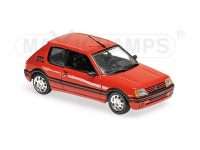 MODELLINO PEUGEOT 205 GTI 1990 RED IN METALLO MINICHAMPS