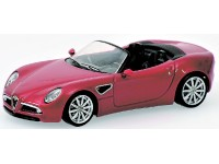 MODELLINO ALFA ROMEO 8C SPIDER RED METALLIC IN METALLO MINICHAMPS