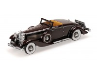 MODELLINO DUESENBERG SJN SUPERCHARGED CONVERTIBLE COUPE 1936 ROSSA SCURO IN RESINA MINICHAMPS