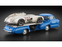 MODELLINO MERCEDES BENZ TRUCK BLU WONDER 1955 CON MERCEDES 300 SLR N.701 IN METALLO CMC
