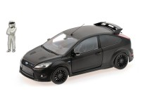 MODELLINO FORD FOCUS RS 500 NERO OPACO TOP GEAR CON FIGURA MINICHAMPS