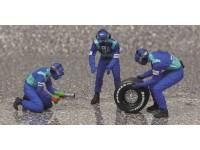 MINICHAMPS 1/43 PIT STOP SAUBER 2002 CAMBIO GOMME POSTERIORE FIGURE IN RESINA