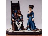 Coppia figurini Luigi XI e Carlotta di Savoia Le Cimier