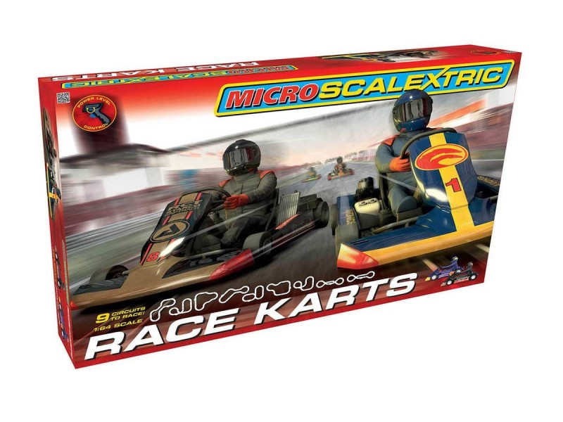 Micro Scalextric Pista Elettrica Race Karts Set in Scala 1/64