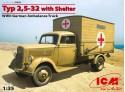 ICM Typ 2,5-32 WWII Ambulanza Tedesca Modellino in kit di Montaggio