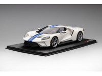 TOPSPEED 1/18 FORD GT FROZEN WHITE WITH LIGHTNING BLUE STRIPE MODELLINO