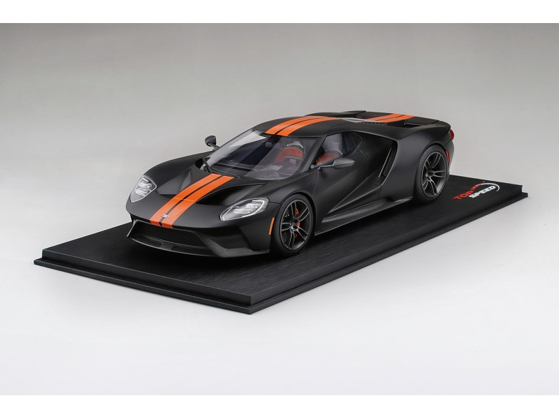 TOPSPEED 1/18 FORD GT MATTE BLACK WITH COMPETITION ORANGE STRIPE MODELLINO
