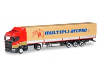 "Herpa Scania R 2013 HL canvas semitrailer ""Multipli Arcese"" Modellino"