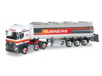 "Herpa Mercedes-Benz Actros Streamspace chromed tank semitrailer ""Turners"" Modellino"