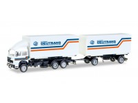 "Herpa Iveco interchargable box trailer ""Deutrans"" Modellino"