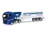 "Herpa MAN TGX XXL Euro 6c fuel tank semitrailer ""Dettendorfer"" Modellino"