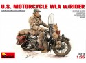 MINIART 1/35 U.S. MOTORCYCLE WLA WITH RIDER KIT FIGURINI IN PLASTICA