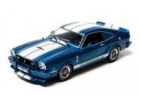 Greenlight 1/18 Ford Mustang II Cobra II blue white Racing Stripes modellino