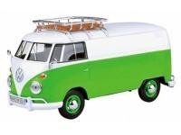 Motormax 1/24 VW T1 delivery van verde bianco modellino