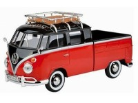 Motormax 1/24 VW T1 Type 2 Double Cabine red black modellino