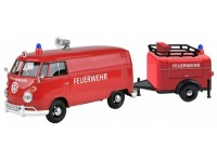 MOTORMAX 1/24 VOLKSWAGEN TYPE 2 T1 FIRE TRUCK AND TRAILER MODELLINO