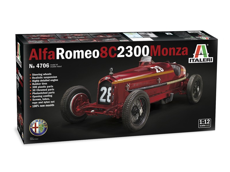 Italeri 1/12 Alfa Romeo 8C 2300 Monza modello in kit di Montaggio